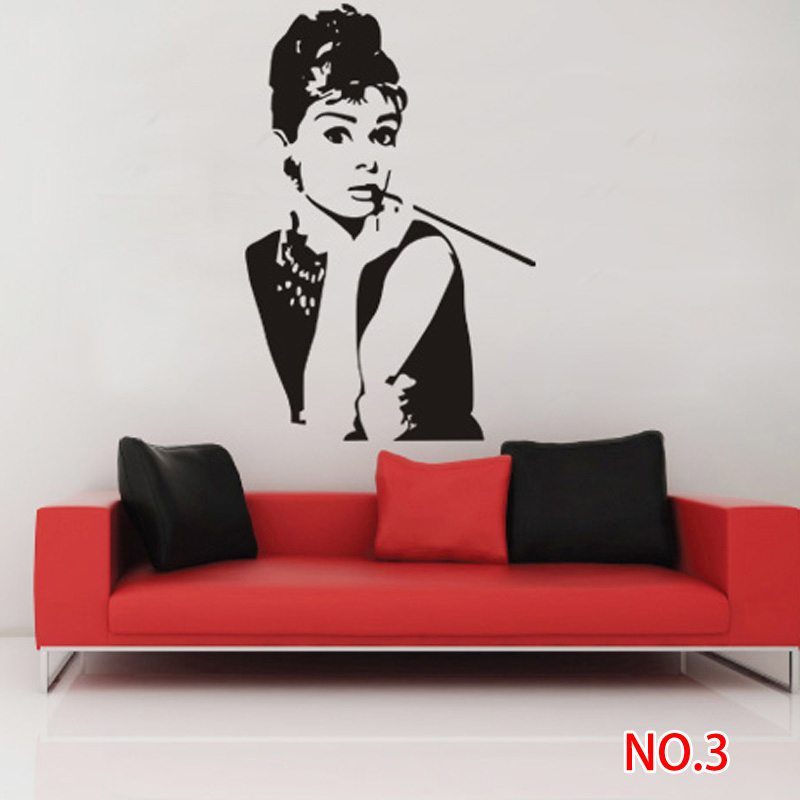 Audrey Hepburn Wall Sticker Decal For Art Deco 1250 Cool Wholesale