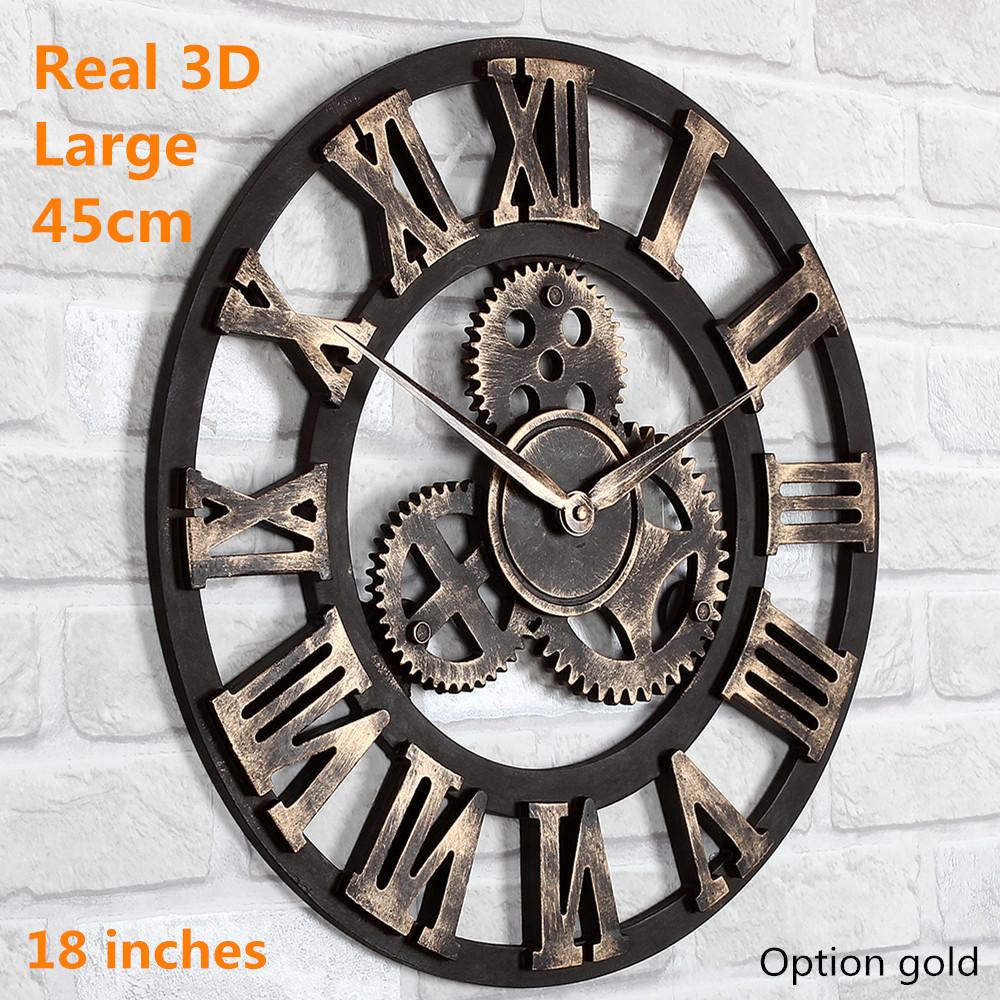 Handmade Vintage Looking Gears Large Wall Clock Cool Wholesale