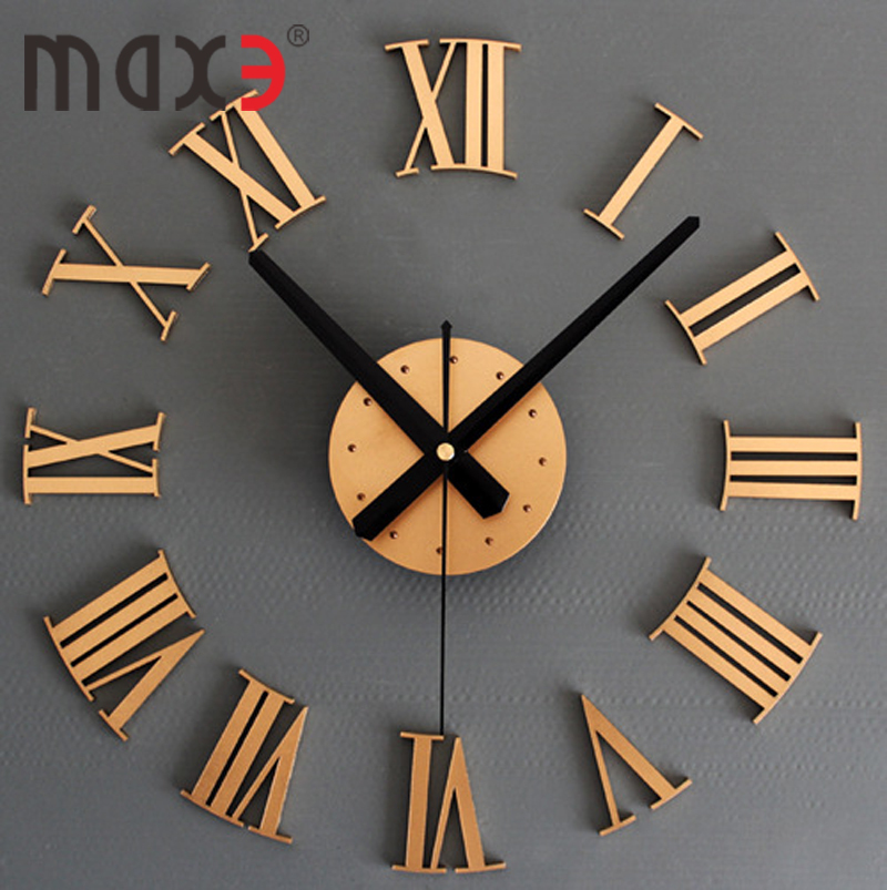 Large Wood Color Wall Clock in Roman Numerals Art Deco Cool