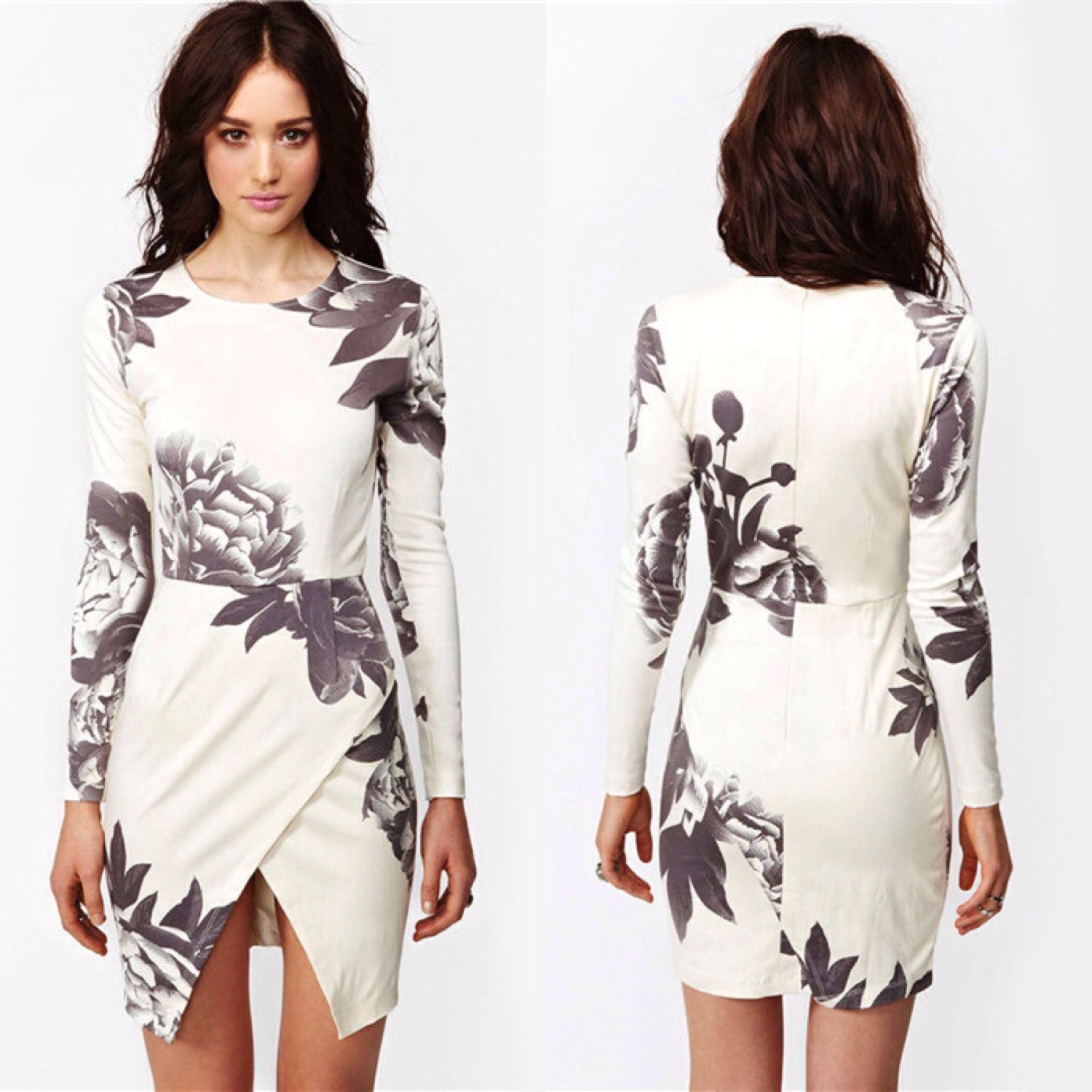 White Asymmetrical Wrap Dress with Floral Print $28 – Cool Wholesale